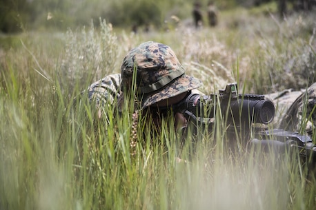 Pfc. William Brooks, machine gunner, 2nd Battalion, 8th Marine Regiment, sights in his M240B during Mountain Training Exercise 4-17 aboard Marine Corps Mountain Warfare Training Center, Bridgeport, Calif., August 2, 2017. Marines with 2/8, based out of Marine Corps Base Camp Lejeune, N.C., conducted the training in preparation for an upcoming deployment. (U.S. Marine Corps photo by Pfc. Margaret Gale)