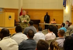 Army Col. Mark Simerly, DLA Troop Support commander, addresses participants in the Pathways to Career Excellence program Aug. 17