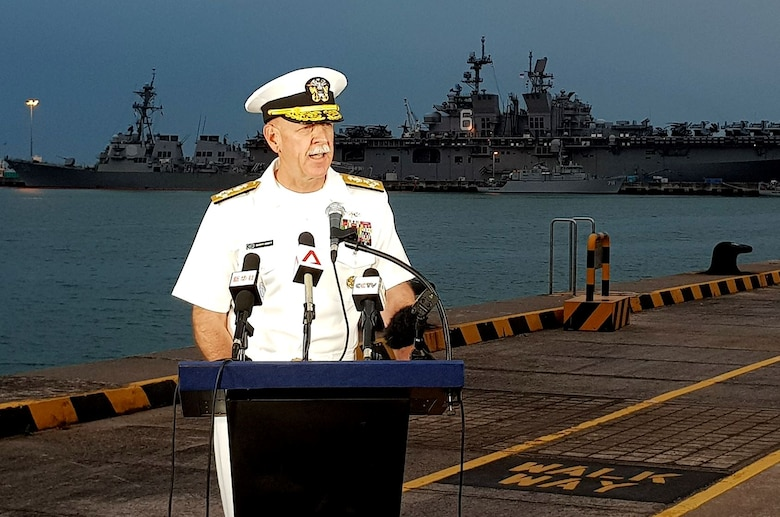 CHANGI NAVAL BASE, REPUBLIC OF SINGAPORE (Aug. 22, 2017) Pacific Fleet Commander Admiral Scott Swift updates reporters on the situation aboard USS John S. McCain (DDG 56).