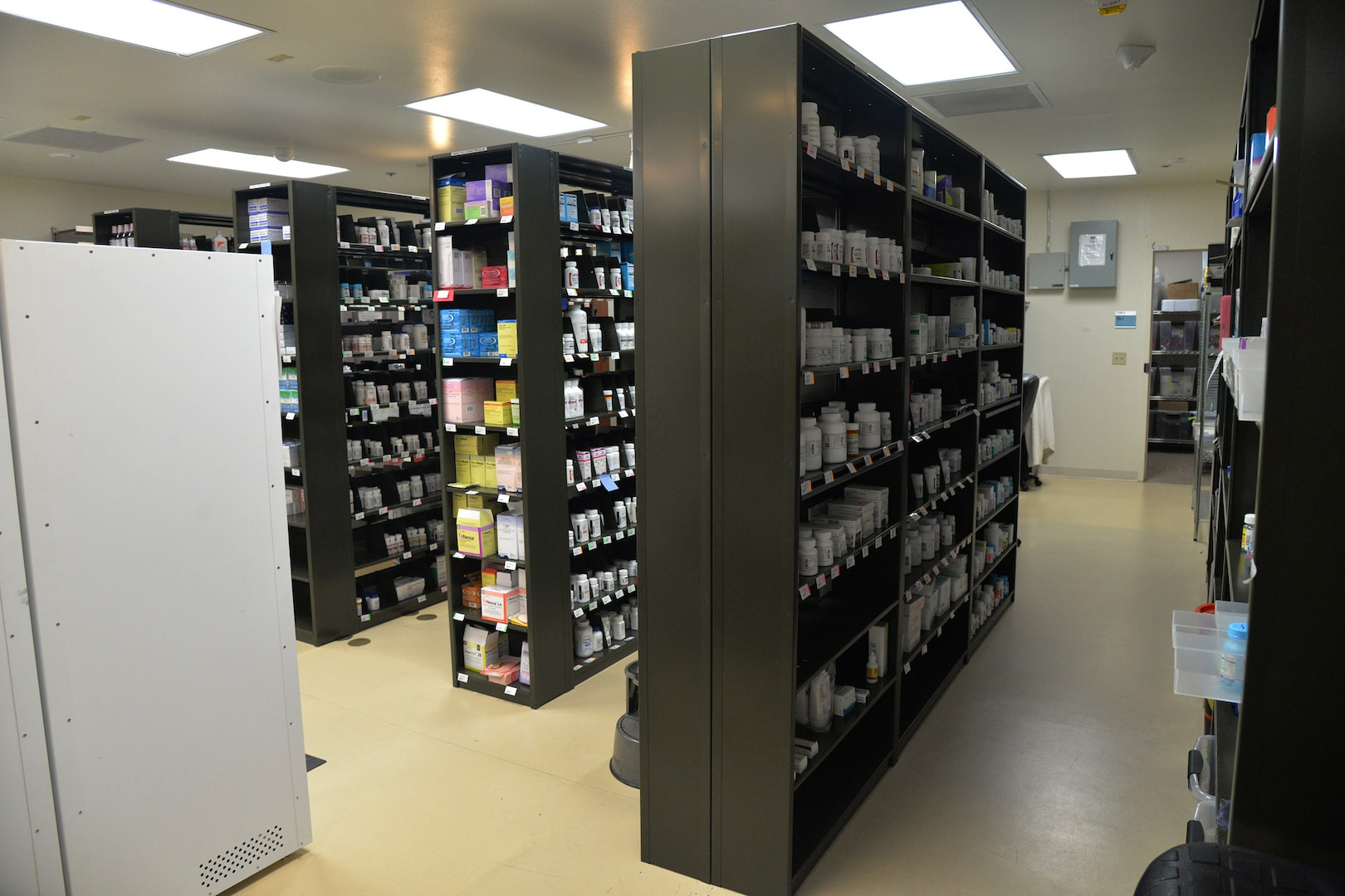 New medication storage is displayed in the pharmacy Aug. 14, 2017, at Malmstrom Air Force Base, Mont.