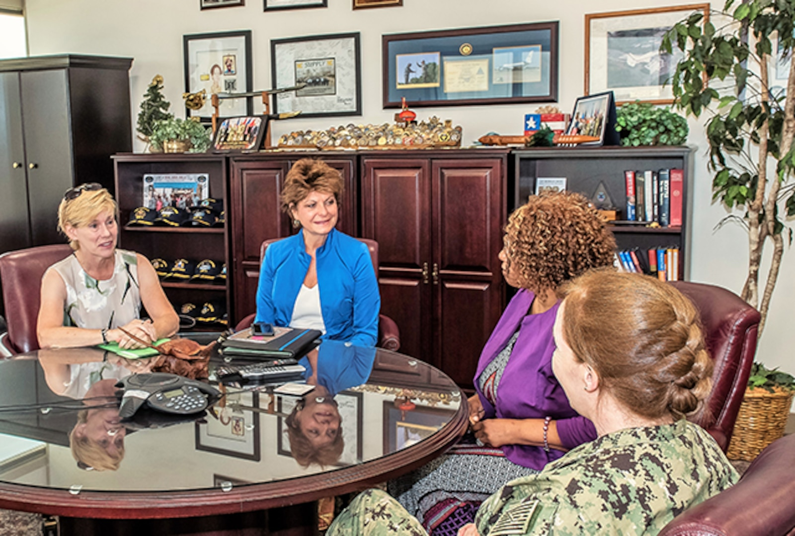 Office call prior to Women's Equality Day program