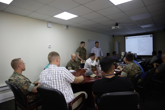U.S. Marines and sailor with Black Sea Rotational Force 17.1 and Marine Rotational Force Europe 17.1 brief the regional security officer during an embassy reinforcement exercise in Chisinau, Moldova, July 15, 2017. Embassy reinforcement exercises improve emergency preparedness.  (U.S. Marine Corps photo by Sgt. Patricia A. Morris)