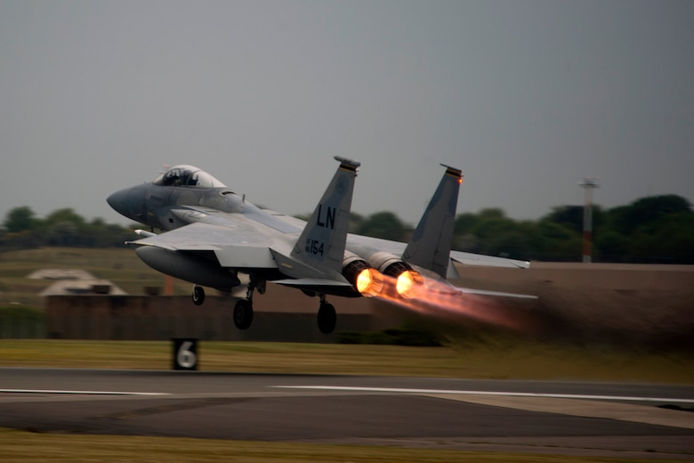 An F-15C Eagle assigned to the 493rd Fighter Squadron takes off at RAF Lakenheath, May 15, 2017. The U.S. is scheduled to deploy F-15C Eagles, Airmen and associated equipment from the 48th Fighter Wing to support the next NATO Baltic Air Policing rotation at Šiauliai Air Base, Lithuania. (U.S. Air Force photo/Master Sgt. Eric Burks)