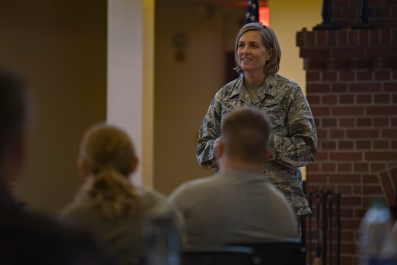 Col. Jennifer Short, 23d Wing commander, addresses a crowd of Emerge Moody and Leadership Moody students during the initial meeting of the 2018 classes, Aug. 18, 2017, at Moody Air Force Base, Ga. The Emerge Moody and Leadership Moody courses are designed to nurture the development of leaders throughout the units stationed at Moody Air Force Base. (U.S. Air Force photo by Airman 1st Class Daniel Snider)