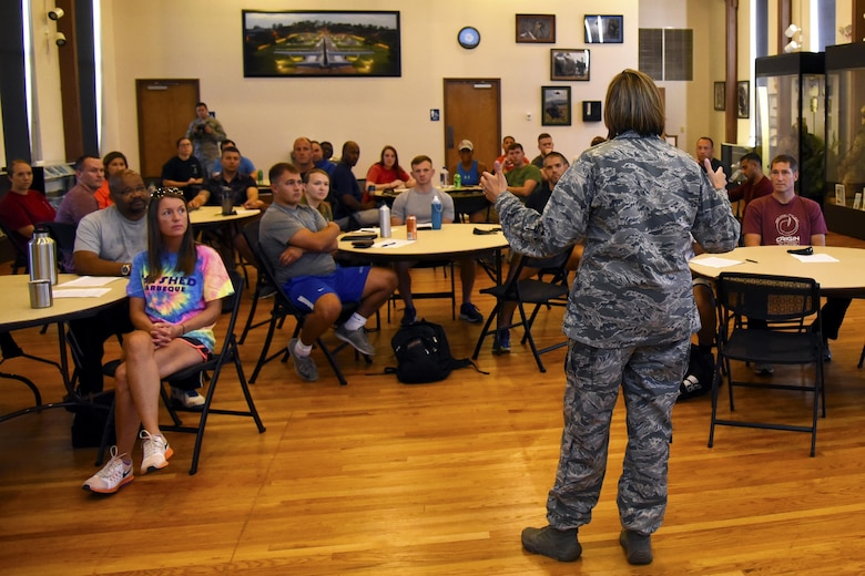 Col. Jennifer Short, 23d Wing Commander, speaks to Emerge Moody and Leadership Moody students, August 18, 2017, Moody Air Force Base, Ga. Emerge Moody and Leadership Moody is an opportunity for 20 Team Moody members to engage in a nine month curriculum where they will gain leadership and networking skills to disperse throughout their units. (U.S. Air Force Photo by Airman Eugene Oliver)