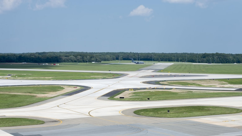 Runway 14-32 on Dover Air Force Base, Del., reopened Aug. 16, 2017, after several months of construction. Reopening this runway marks the completion of the latest phase of the $102 million runway reconstruction project intended to extend the lifespan of the runway by 50 to 75 years. (U.S. Air Force photo by Senior Airman Zachary Cacicia)