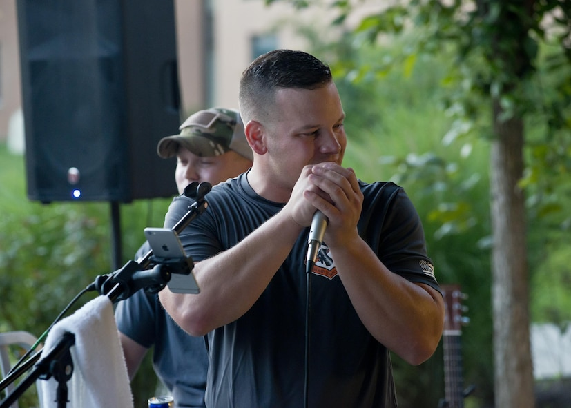 Airmen from the Air National Guard Band of the South perform August 15, 2017, at the ANG's 2017 Enlisted Leadership Symposium in Camp Dawson, West Virginia. The three-day event was designed to provide enlisted Airmen of all levels with a broad range of leadership tools to apply in their units. (U.S. Air National Guard photo/Staff Sgt. John E. Hillier)