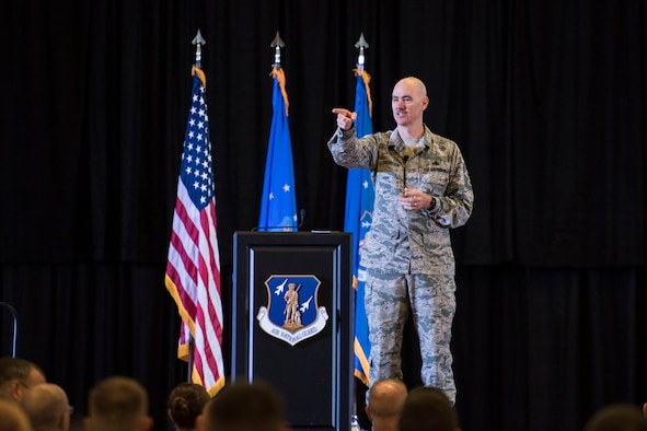Command Chief of the Air National Guard, Chief Master Ronald Anderson welcomes Airmen to the Enlisted Leadership Symposium at Camp Dawson, W.Va., Aug. 15-17. Nearly 350 Airmen representing Air National Guard units from each state, territory and the District of Columbia, attended the event, hosted by the Command Chief of the Air National Guard, Chief Master Ronald Anderson. The three-day event focused on leadership and professional development. Airmen, non-commissioned officers and senior non-commissioned officers were hand-selected by their units to attend the event. (U.S. Air National Guard photo/Senior Master Sgt. Emily Beightol-Deyerle)