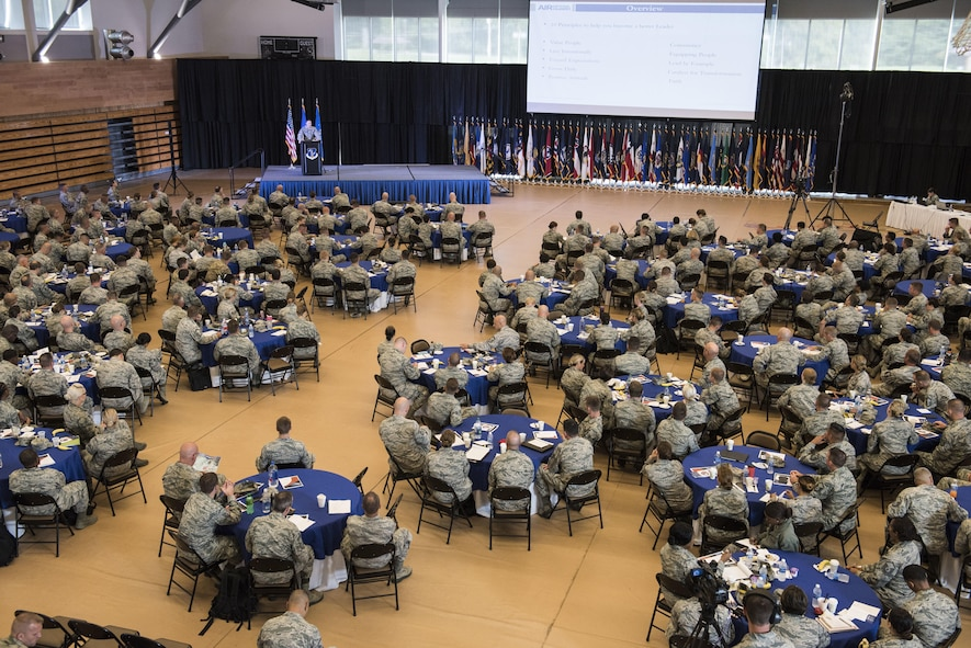 Nearly 350 Airmen representing Air National Guard units from each state, territory and the District of Columbia, attended the Enlisted Leadership Symposium, hosted by the Command Chief of the Air National Guard, Chief Master Ronald C. Anderson, held at Camp Dawson, W.Va., Aug.15-17. The three-day event focused on leadership and professional development. Airmen, non-commissioned officers and senior non-commissioned officers were hand-selected by their units to attend the event. (U.S. Air National Guard photo/Senior Master Sgt. Emily Beightol-Deyerle)