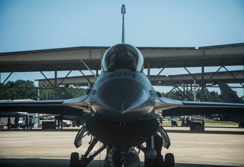A 20th Fighter Wing (FW) F-16CM Fighting Falcon is prepared for take off at Shaw Air Force Base (AFB,) S.C., July 21, 2017. Flagship aircraft from the 20th FW, the 55th, 77th and 79th Fighter Squadrons (FS) flew a four-ship formation flight in commemoration of the 55th FS's 100th anniverary,which was celebrated Aug. 9, 2017. (U.S. Air Force photo by Tech. Sgt. Gregory Brook)