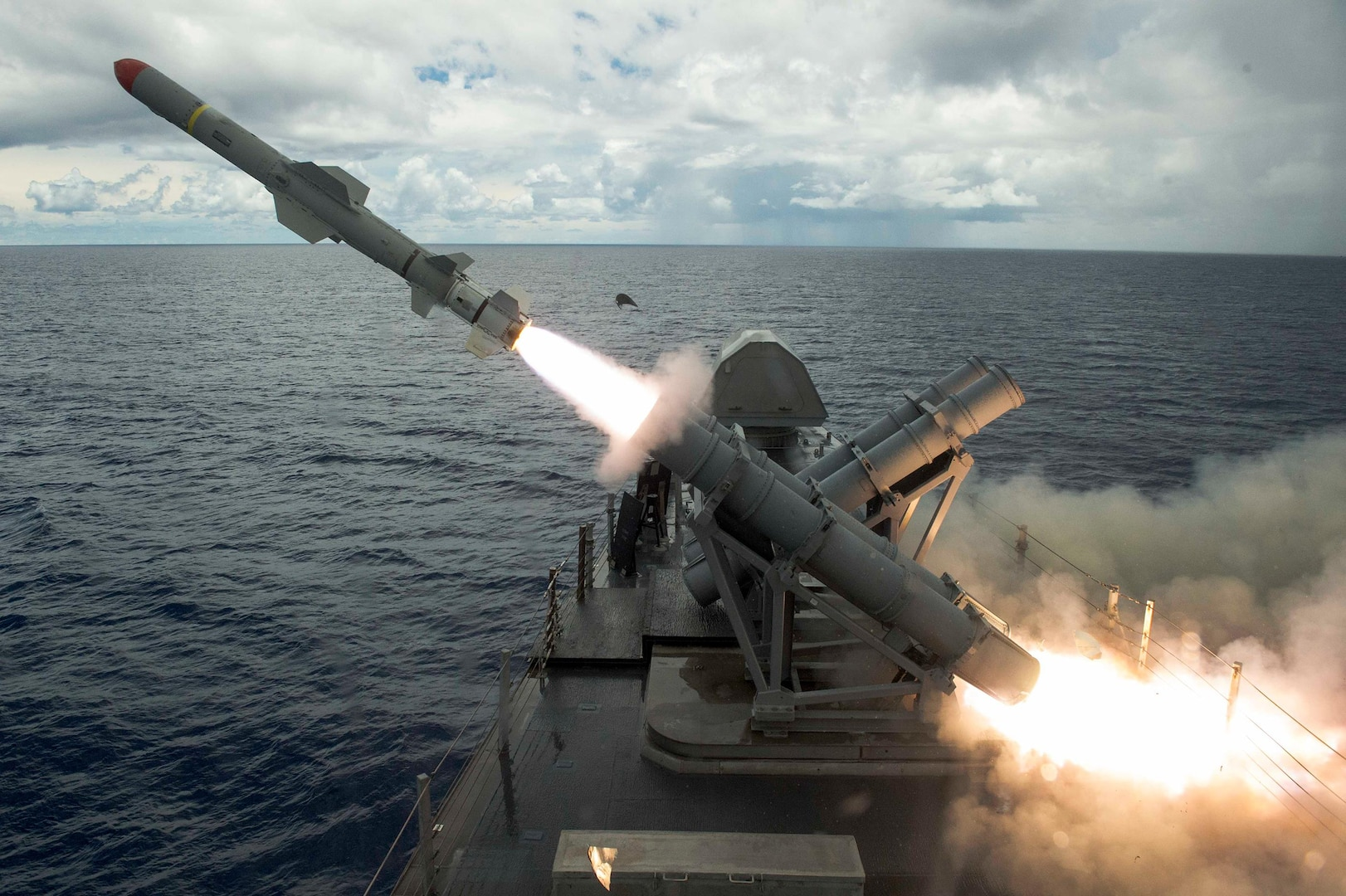 USS Coronado hits target with lethal, harpoon missile during training