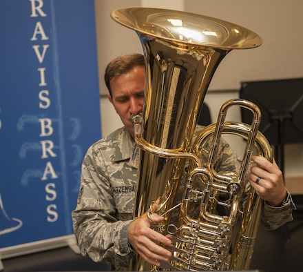 U. S. Air Force Airman 1st Class Lee Jarzembak, a tuba player for the United States Air Force Band of the Golden West,