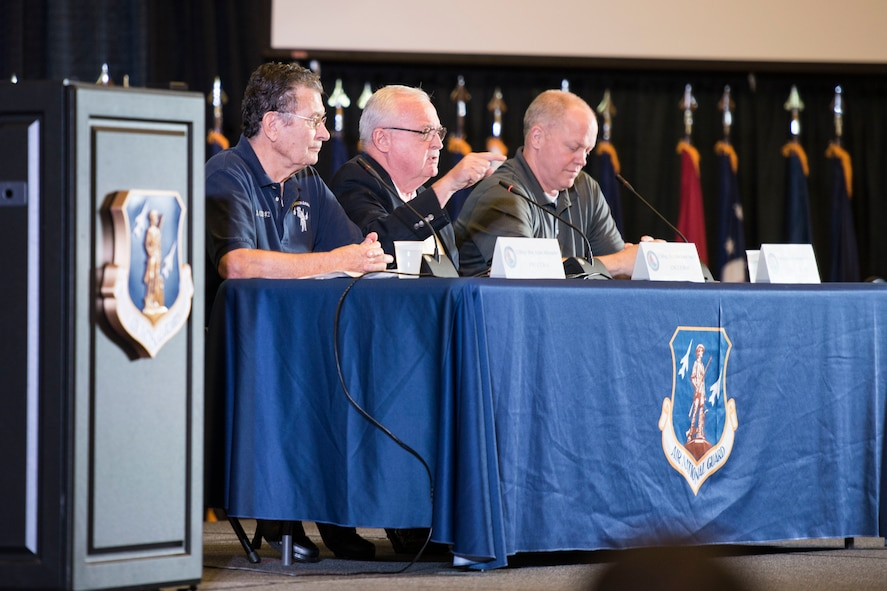 Three former Command Chiefs for the Air National Guard, retired Chief Master Sergeants Lynn Alexander, Richard Smith and Christopher Muncy, field questions from Airmen during the Enlisted Leadership Symposium at Camp Dawson, W.Va., Aug. 15-17. Nearly 350 Airmen representing Air National Guard units from each state, territory and the District of Columbia, attended the Enlisted Leadership Symposium, hosted by the Command Chief of the Air National Guard, Chief Master Ronald Anderson. The three-day event focused on leadership and professional development. Airmen, non-commissioned officers and senior non-commissioned officers were hand-selected by their units to attend the event. (U.S. Air National Guard photo/Senior Master Sgt. Emily Beightol-Deyerle)