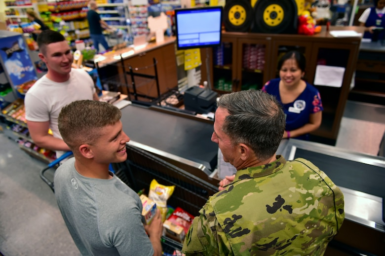Air Force Chief of Staff Gen. David L. Goldfein greets Airmen at the commissary on Ramstein Air Base, Germany, Aug. 21, 2017. Gen. Goldfein worked as a bagger at the Ramstein commissary as a teenager. He passed through Ramstein on his way back to the states after visiting Airmen at several locations in the Middle East.
