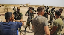 U.S. Marines with Special Purpose Marine Air-Ground Task Force – Crisis Response – Africa act as role players during the final exercise of a peacekeeping operations training mission at Thies, Senegal, June 13, 2017. Marines and Sailors with SPMAGTF-CR-AF served as instructors and designed the training to enhance the soldiers' abilities to successfully deploy in support of United Nations peacekeeping missions in the continent. (U.S. Marine Corps photo by Sgt. Samuel Guerra/Released)