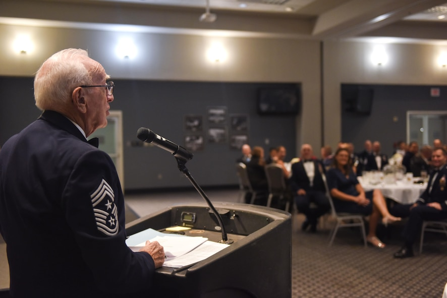 Retired Chief Master Sgt. Robert Mehaffey, guest speaker, speaks during the Senior NCO Induction Ceremony at the Event Center on Goodfellow Air Force Base, Texas, Aug. 18, 2017. The speech focused how to lead as a SNCO. (U.S. Air Force photo by Airman 1st Class Chase Sousa/Released)