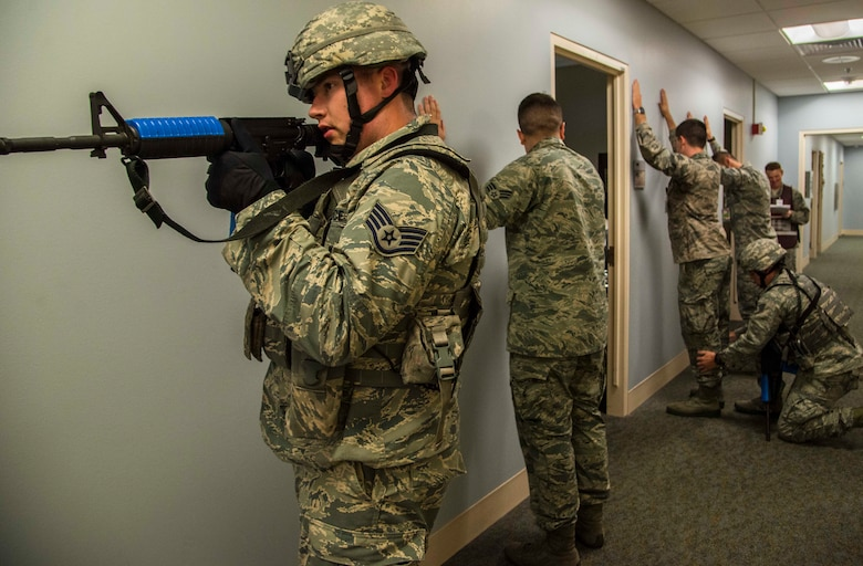 The 375th Security Forces Squadron worked with the 375th Medical Group for an active shooter exercise Aug. 16 at Scott Air Force Base. The exercise helped security forces personnel identify any short falls or limiting factors in response capabilities and gave them a chance to test and train new tactics and procedures.