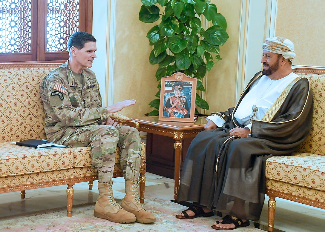 Muscat, Oman--U.S. Army Gen Joseph L. Votel, commander United States Central Command, meets with H.E. Sayyid Badr Al Busaidi, Secretary-General of the Ministry of Foreign Affairs, during his visit to Oman August 22, 2017. During his visit Votel met with Omani leaders to discuss topics of mutual interest and the development of the port of Duqm.  (Department of Defense photo by U.S. Air Force Tech Sgt. Dana Flamer)