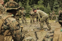 U.S. Marines with Super Squad Competition 3rd Squad, out of 3rd Battalion, 25th Marine Regiment, 4th Marine Division, Marine Forces Reserve, take notes during OPORDER brief before conducting a live-fire ambush range on Joint Base Elmendorf-Richardson, Alaska, Aug. 7, 2017.
