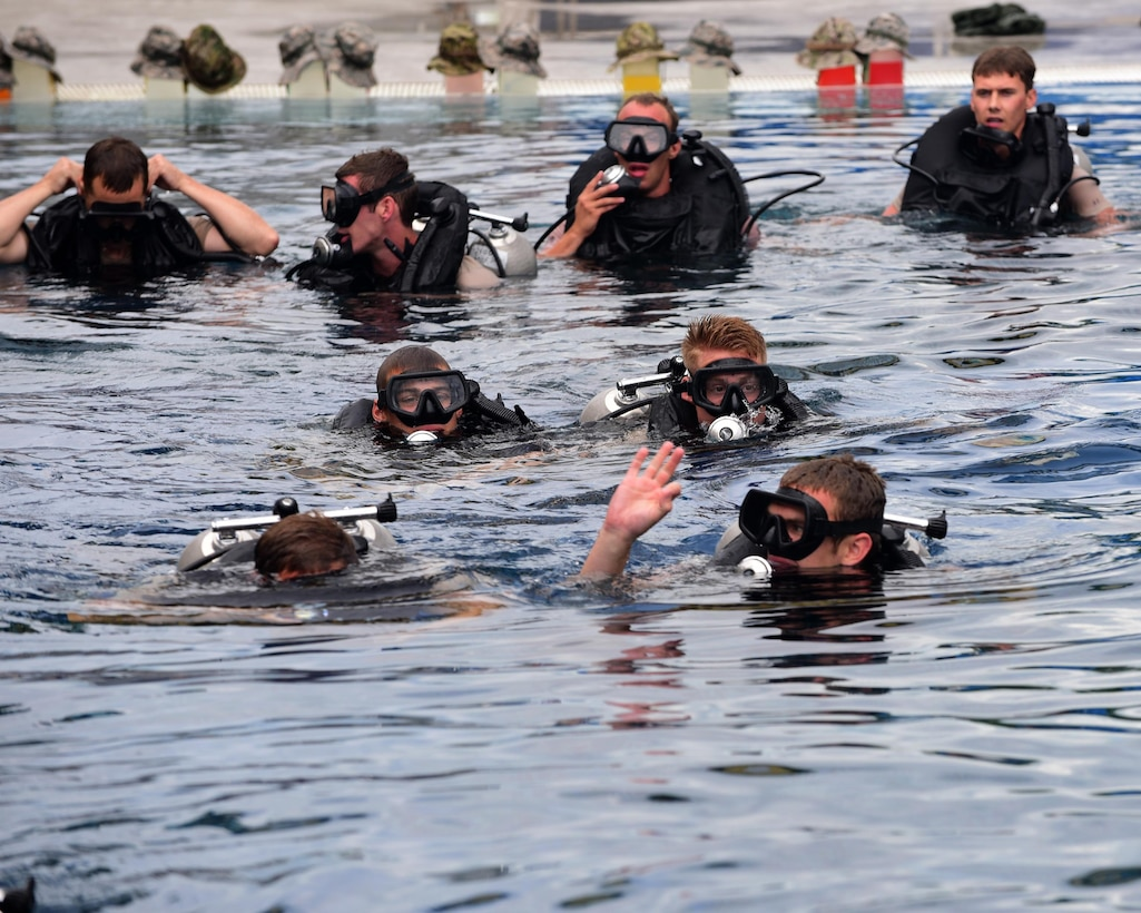 U.S. Air Force diving students begin their training at Naval Support Activity Panama City, Fla., Aug. 3, 2017. The Naval Diving and Salvage Training Center is the home of research, development, testing and evaluation on diving matters. Certification and training is conducted constantly to support the nation's military diving requirements.