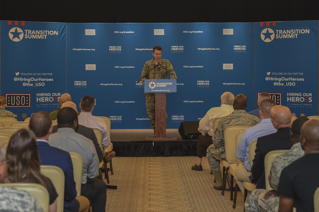 Col. Jeffrey Nelson, 628th Air Base Wing commander, gave opening remarks to attendees of the Hiring Our Heroes transition summit at the Charleston Club in Joint Base Charleston, S.C., Aug. 22.