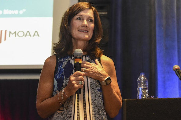 Betty Welsh, wife of retired Gen. Mark Welsh III, former Chief of Staff of the Air Force, speaks to the spouses attending the spouse symposium during the Hiring Our Heroes Transition Summit at the Charleston Club on Joint Base Charleston, S.C., Aug. 22.