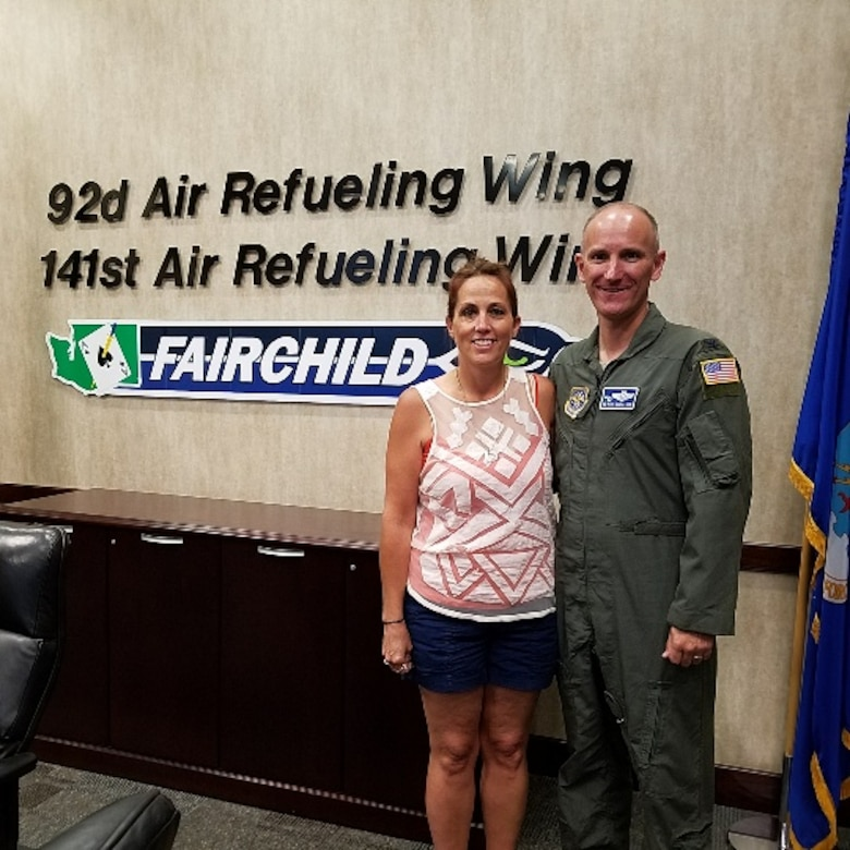 Tracy Finck, Fairchild's first Gold Star Family member, stands with Col. Ryan Samuelson, 92nd Air Refueling Wing commander, Aug. 3, 2017 at Fairchild Air Force Base, Washington. The GSF program is for family members of Airmen who were killed in action during international terrorist attacks against the U.S., in a friendly foreign nation, or during military operations while serving outside the U.S. (Courtesy Photo)