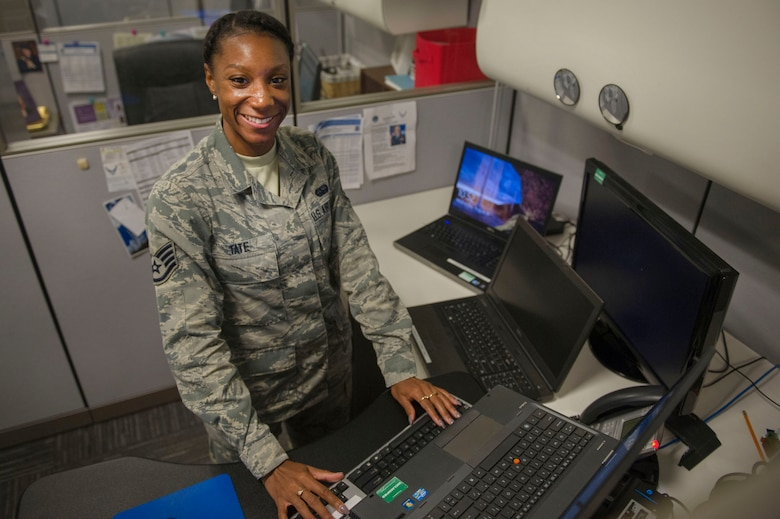 Photo of Staff Sgt. Malaka Tate, 744th Communications Squadron knowledge operations management technician.