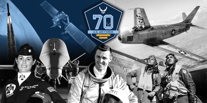 The United States Air Force observes its 70th birthday Sept. 18, 2017. Barksdale's rendition of the 70th Air Force Birthday Ball is scheduled to take place Sept. 16 at 5 p.m. at the Shreveport Convention Center. (U.S. Air Force graphic/Vernon Greene)