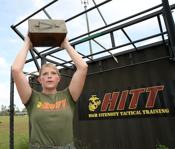 1st Lt. Delaney T. Bourlakov, base adjutant, Marine Corps Logistics Base Albany, completes a maximum set of ammunition can lifts during a recent workout session in preparation for the Third Annual High Intensity Tactical Training Tactical Athlete Championship Competition in Camp Pendleton, Calif., Aug. 27 – Sept. 1.