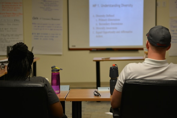 Langley Air Force Base Airman Leadership School students learn about understanding diversity on Joint Base Langley-Eustis, Va.,  Aug. 4, 2017.