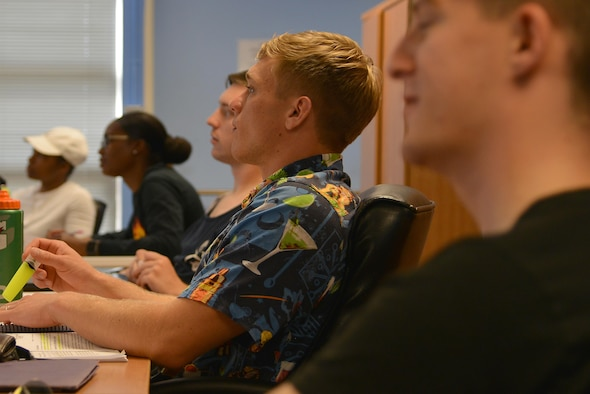 Langley Air Force Base Airman Leadership School students attend class in attire that best describes themselves for Diversity Day on Joint Base Langley-Eustis, Va., Aug. 4, 2017.