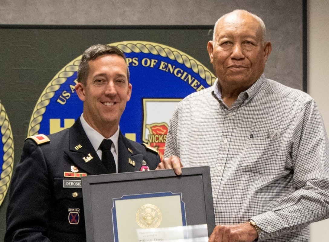 Willie J. Davis was recognized for his 55 years of service in the Government of the United States of America at this years Vicksburg District Founders Day ceremony.