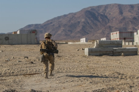 Pfc. Kevin Bullock, an infantry assault Marine with 2nd Battalion, 7th Marine Regiment, 1st Marine Division, sprints to the next point of cover during a Marine Corps Combat Readiness Evaluation (MCCRE) at Marine Air Ground Combat Center Twentynine Palms, Calif., July 15, 2017. The 2/7 MCCRE is in preparation for the upcoming deployment with the Special Purpose Marine Air Ground Task Force. (U.S. Marine Corps photo by Cpl. Justin Huffty)