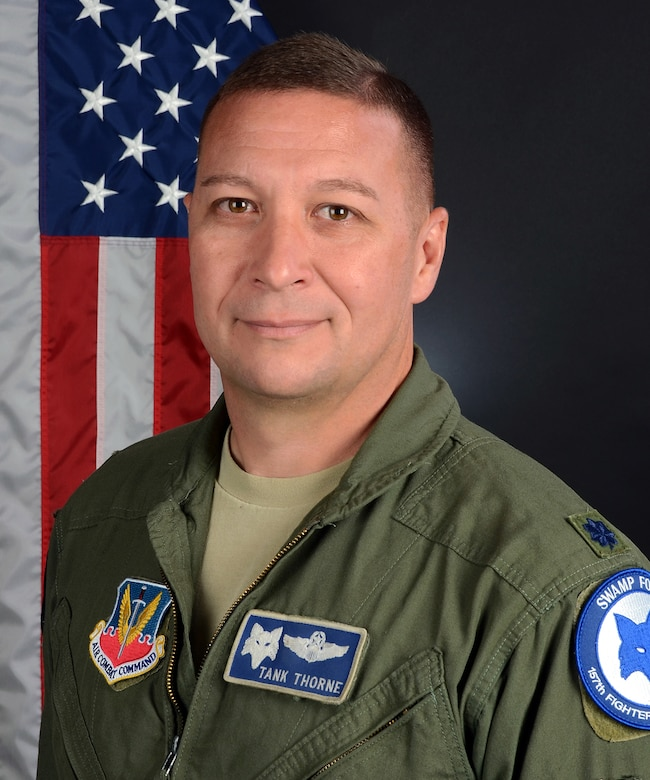 U.S. Air Force Lt. Col. Andrew Thorne, the commander of the 169th Aerospace Combat Alert, at McEntire Joint National Guard Base, S.C., Aug. 4, 2017. (U.S. Air National Guard photo by Senior Airman Megan Floyd)