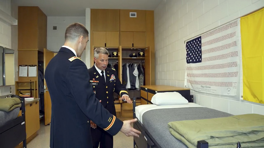 Lt. Gen. Todd Semonite speaks from Davis Barracks at West Point with New York District on August 18, 2017. Click below to view...