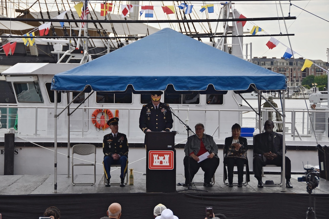 U.S. Army Corps of Engineers, Baltimore District, Commander Col. Ed. Chamberlayne hosted the dedication ceremony for Baltimore District's new hydrographic survey vessel, Survey Vessel CATLETT, in Baltimore's Inner Harbor Thursday morning August 24, 2017. Ceremony participants on stage with Chamberlayne are U.S. Army Corps of Engineers, Headquarters, Command Sgt. Maj. Bradley Houston, Maryland Port Administration Director of Harbor Development Chris Correale, Angela Leone, sister of Harold Catlett for whom the vessel is named and Rev. Willie Pack, a Baltimore District employee who worked with Harold in Baltimore District's Navigation Branch.