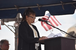 "Angela Leone, sister of the late Harold Catlett, provides remarks Thursday morning August 24, 2017 at the dedication ceremony for the U.S. Army Corps of Engineers, Baltimore District's new hydrographic survey vessel, Survey Vessel CATLETT, named in her brother's honor. Catlett was a hydrographic surveyor with Baltimore District for roughly 30 years before his sudden passing in 2014. Leone thanked the Corps of Engineers for honoring her brother in such a significant way. ""The survey vessel was a second home to Harold,"" Leone said. ""This is an historic and proud moment to see the Catlett name on the side of this new vessel."""