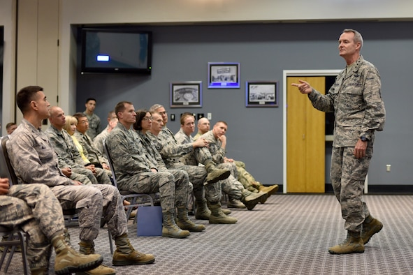 U.S Air Force Lt. Gen. Darryl Roberson, Air Education and Training Command commander, visits with 17th Training Wing senior leaders at the Event Center on Goodfellow Air Force Base, Aug. 22, 2017. Roberson's message to Airmen was to speak up with new ideas. (U.S. Air Force photo by Airman 1st Class Randall Moose/Released)