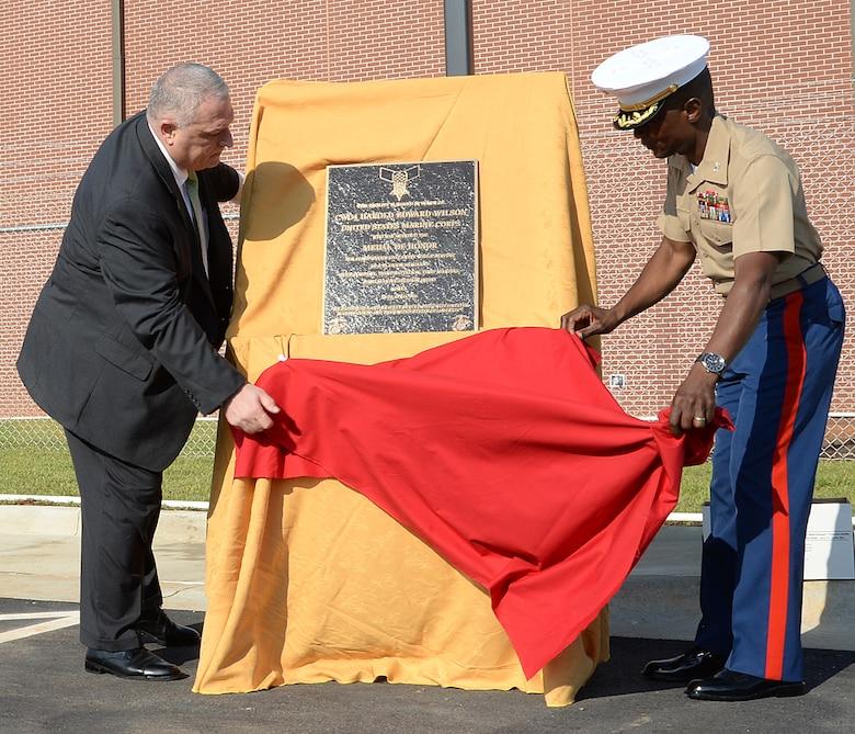 Officials cut ribbon, dedicate building to Marine Corps hero