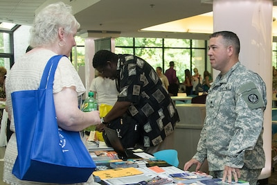 "Service members, service providers and members of the military community take part in the ""Building Collaborative Communities"" event."