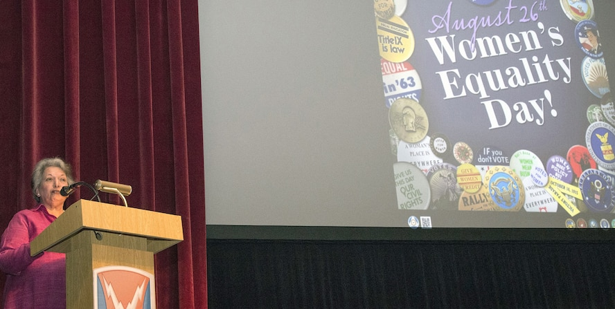Madhu Sridhar, president of the League of Women Voters of the San Antonio area, addressed members of the Army's 106th Signal Brigade on the history of women's voting rights in the U.S. and about the importance of voting during the Women's Equality Day Observance Aug. 23 at Joint Base San Antonio-Fort Sam Houston.