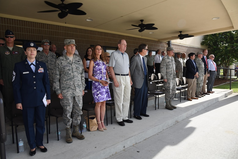 Distinguished visitors attend the 2nd Air Force change of command ceremony at the Levitow Training Support Facility Aug. 23, 2017, on Keesler Air Force Base, Miss. Maj. Gen. Timothy Leahy took command of 2nd AF during the ceremony from Maj. Gen. Bob LaBrutta. (U.S. Air Force photo by Kemberly Groue)