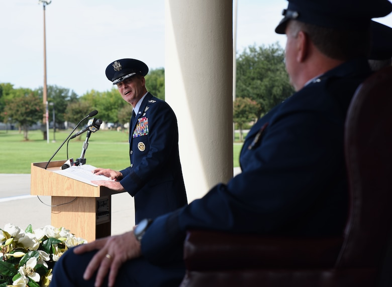 Lt. Gen. Darryl Roberson, commander of Air Education and Training Command, delivers remarks during the 2nd Air Force change of command ceremony at the Levitow Training Support Facility Aug. 23, 2017, on Keesler Air Force Base, Miss. Maj. Gen. Timothy Leahy took command of 2nd Air Force from Maj. Gen. Bob LaBrutta.  Leahy comes to Keesler from Air University at Maxwell AFB, Ala. (U.S. Air Force photo by Kemberly Groue)