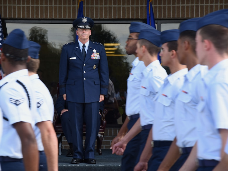 Maj. Gen. Bob LaBrutta, outgoing 2nd Air Force commander, stands at attention during pass and review during the 2nd AF change of command ceremony at the Levitow Training Support Facility Aug. 23, 2017, on Keesler Air Force Base, Miss. (U.S. Air Force photo by Kemberly Groue)