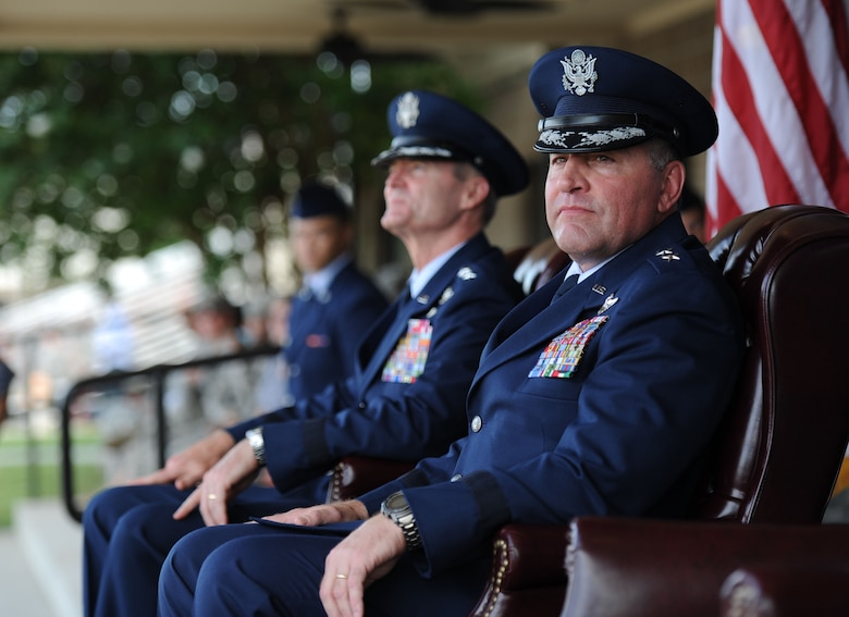 Maj. Gen. Timothy Leahy, 2nd Air Force commander, sits on stage during the 2nd AF change of command ceremony at the Levitow Training Support Facility Aug. 23, 2017, on Keesler Air Force Base, Miss. (U.S. Air Force photo by Kemberly Groue)
