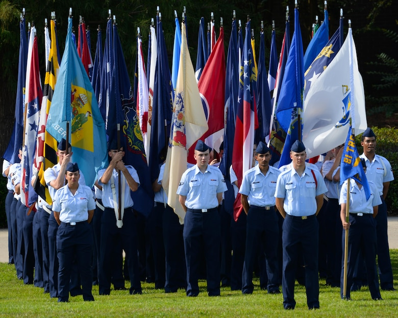 Airmen from the 81st Training Group stand in formation during the 2nd Air Force change of command ceremony at the Levitow Training Support Facility Aug. 23, 2017, on Keesler Air Force Base, Miss. Maj. Gen. Timothy Leahy took command of 2nd AF during the ceremony from Maj. Gen. Bob LaBrutta. (U.S. Air Force photo by Senior Airman Travis Beihl)