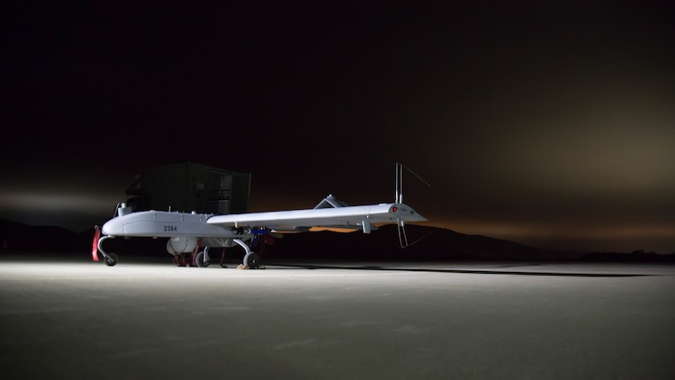 U.S. Marines with Marine Unmanned Aerial Vehicle Squadron 4, Marine Aircraft Group 41, Marine Forces Reserve prepare to launch the RQ-7 Shadow Tactical Unmanned Aircraft System on Camp Pendleton, Calif., August 19th, 2017.