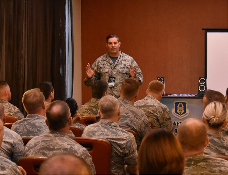 Col. John D. McKaye, 655th Intelligence Surveillance and Reconnaissance Group commander, speaks in a breakout session at the 2017 Air Force Reserve Command Intelligence, Surveillance, Reconnaissance Expo held in San Antonio, Texas August 22-24, 2017.
