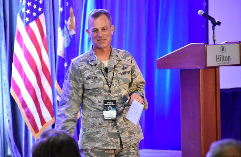 Brig. Gen. Jeffrey S. Hinrichs, Individual Mobilization Augmentee to the 480th Intelligence, Surveillance and Reconnaissance Wing commander, speaks on Air Reserve Command support to the National Intelligence Agency at the 2017 AFRC ISR Expo